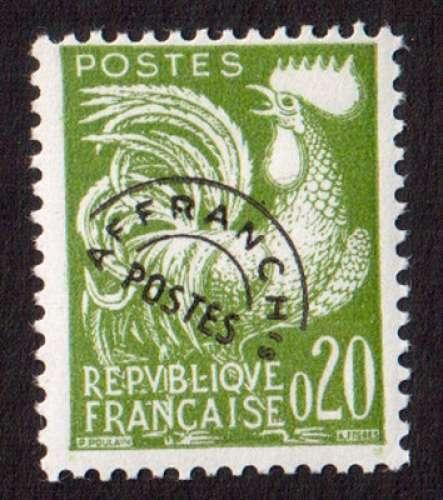 France 1960 timbre préoblitéré coq gaulois Y&T 120 **  0,20 F vert      cote 3,00€