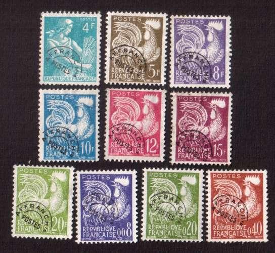 France 1953-60  préoblitérés coq gaulois Y&T 106 - 107 - 109 - 111 - 112 - 113 - 119 - 121 (o)