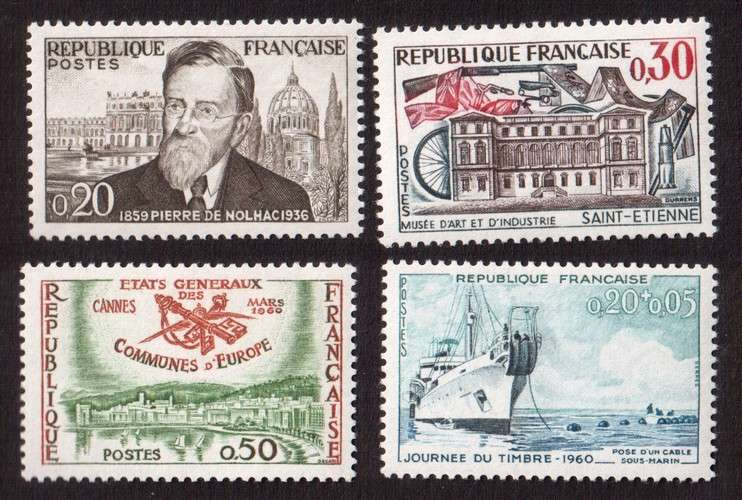 France 1960 Y&T  1242 à 1245 ** srie touristique 4 timbres cote 4,10€