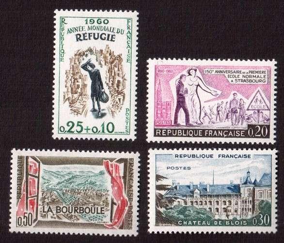 France 1960 Y&T  1253 à 1256 ** année mondiale du réfugié, école normale de Strasbourg ...