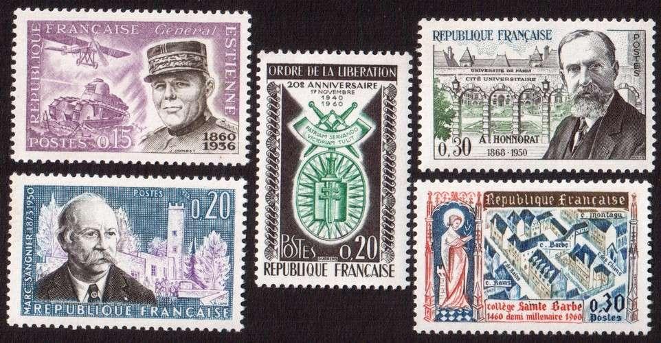 France 1960 Y&T  1270 - 1271 - 1272 - 1277 - 1280 **   cote 2,10€...