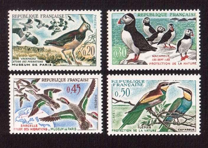 France 1960 Y&T  1273 à 1276 **  oiseaux  cote 2,40€...
