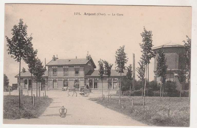 cpa 18 Argent (sur Sauldre ) La Gare
