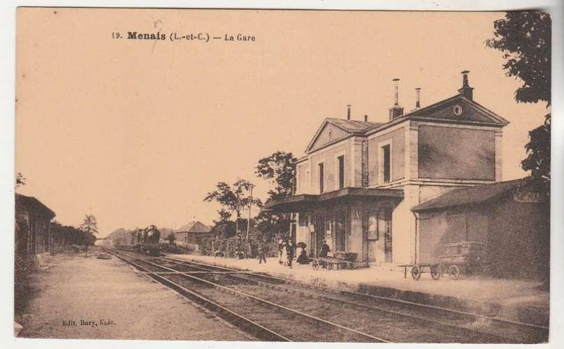 cpa  41 Ménars ( erreur : Menais )  la Gare