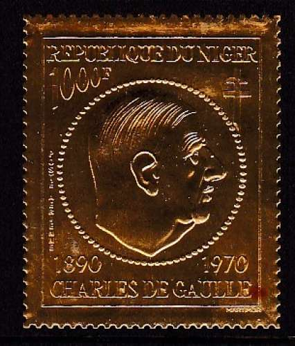 TIMBRE NEUF DU NIGER - CHARLES DE GAULLE N° Y&T PA 148 (TIMBRE EN OR)