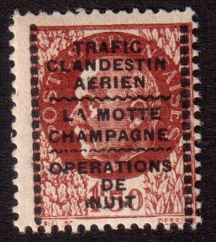 France 1944  Libération de Montreuil-Bellay Y&T ? ** Pétain 1 f 50 brun trafic clandestin
