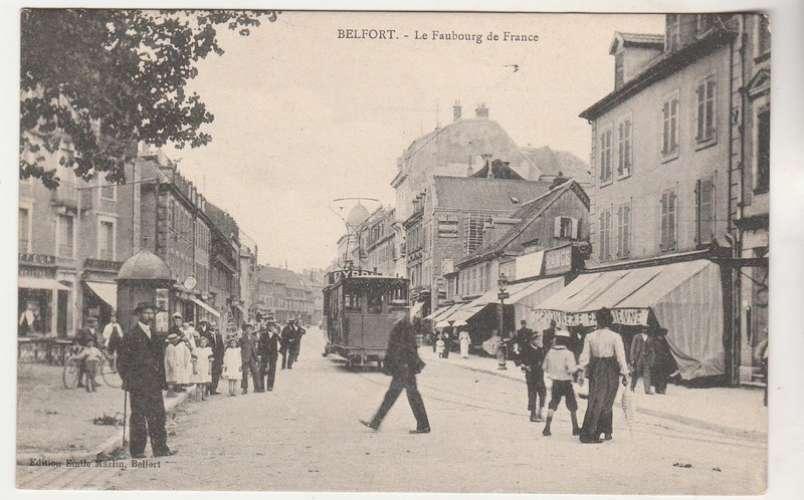 cpa 90 Belfort Le Faubourg de France ( Tramway )