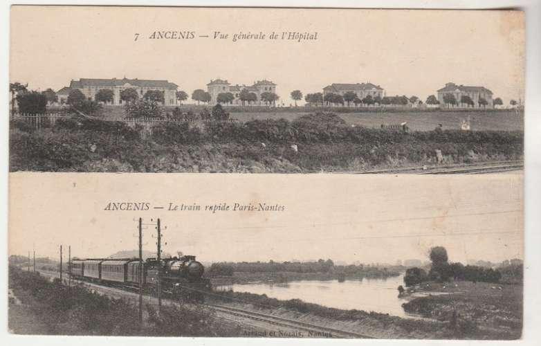 cpa  44 Ancenis  Deux vues Hôpital et Train rapide Paris-Nantes
