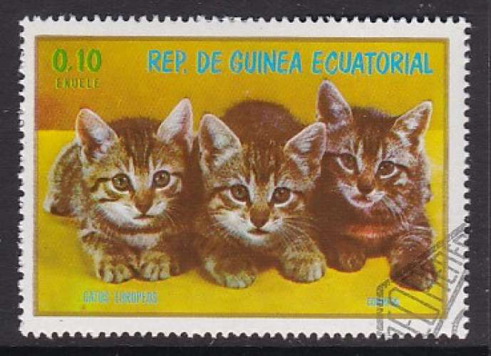 TIMBRE OBLITERE DE GUINEE EQUATORIALE -  CHATONS EUROPEENS