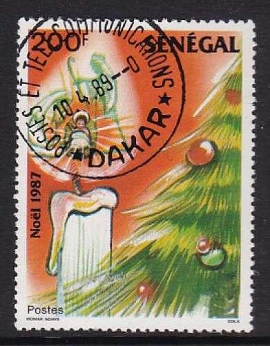 TIMBRE OBLITERE DU SENEGAL - NOËL 1987 : SAPIN ET BOUGIE N° Y&T 741