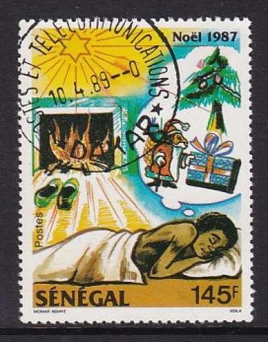 TIMBRE OBLITERE DU SENEGAL - NOËL 1987 : REVE DE NOËL N° Y&T 738