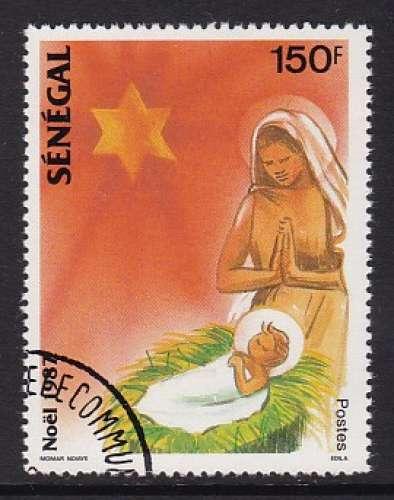 TIMBRE OBLITERE DU SENEGAL - NOËL 1987 : LA VIERGE ET L'ENFANT N° Y&T 739