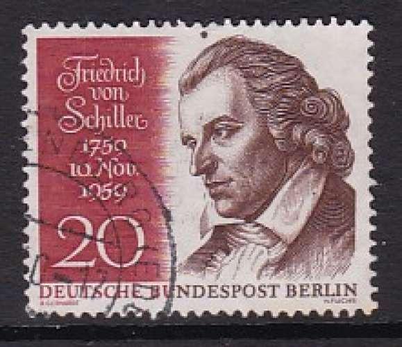 TIMBRE OBLITERE DE BERLIN - BICENTEN. NAISSANCE POETE ET ECRIVAIN FRIEDRICH VON SCHILLER N° Y&T 169