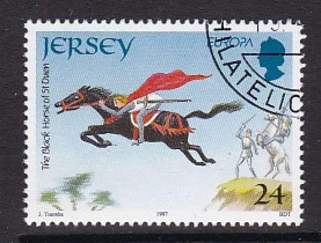 TIMBRE OBLITERE DE JERSEY - EUROPA 1997 : LE CHEVAL NOIR DE SAINT-OUEN N° Y&T 777