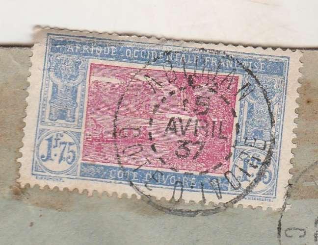 Côte d'Ivoire  YT 105A seul sur lettre recommandée