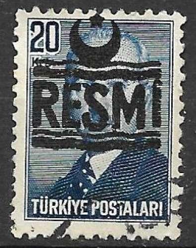 Turquie Service 1951-53 Y&T 16 oblitéré
