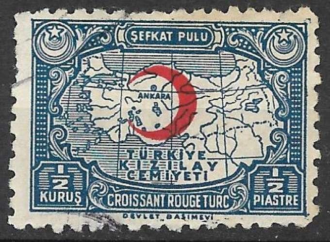Turquie Bienfaisance 1938 Y&T 53 oblitéré