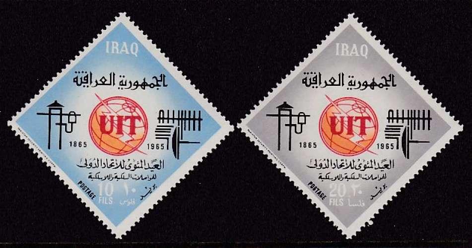PAIRE NEUVE D'IRAK - CENTENAIRE DE L'UNION INTERNATIONALE DES TELECOMMUNICATIONS N° Y&T 413/414