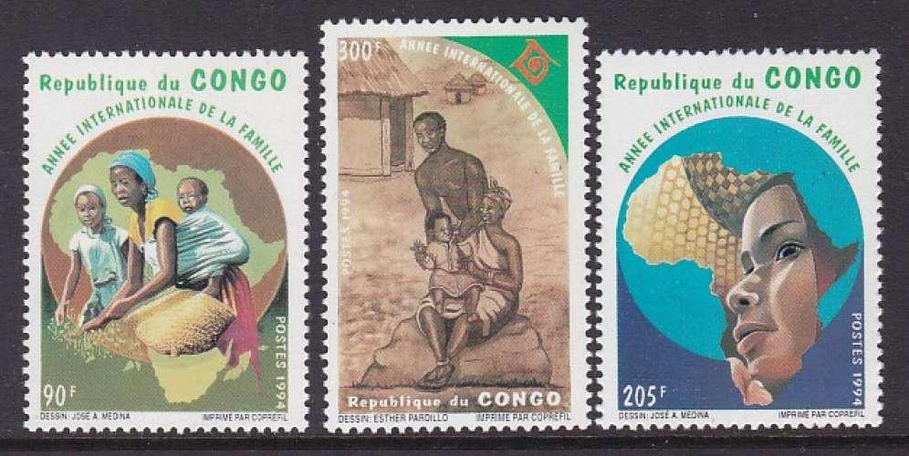 SERIE NEUVE DU CONGO - ANNEE INTERNATIONALE DE LA FAMILLE N° Y&T 998 A 1000