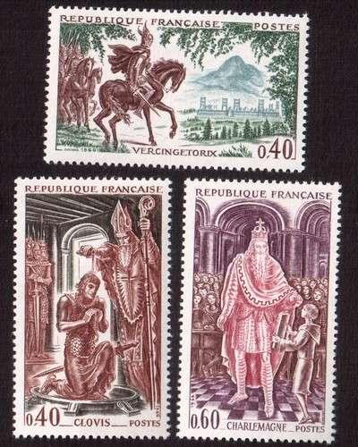 France 1966 Y&T 1495 à 1497 **  grands noms de l'Histoire de France   cote 1,65€