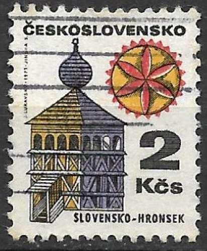 Tchecoslovaquie 1971 Y&T 1833 oblitéré - Clocher de Hronsek
