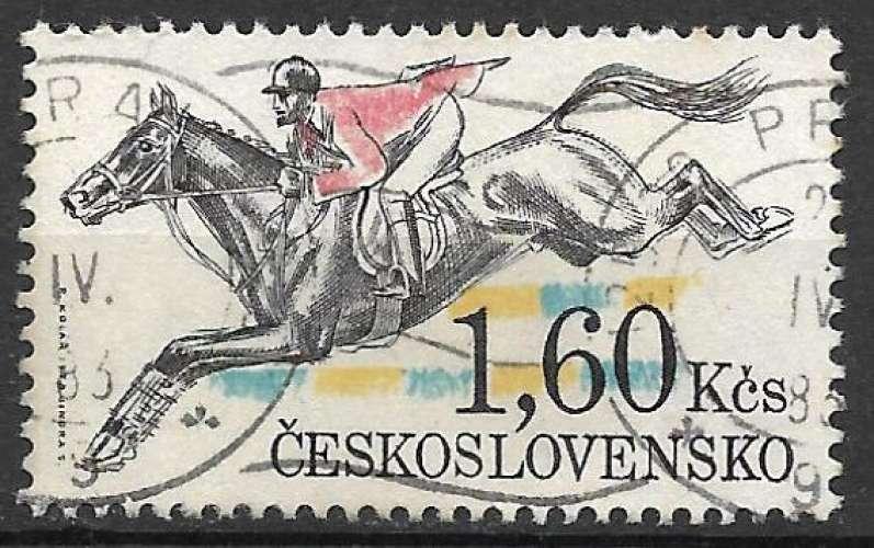 Tchecoslovaquie 1978 Y&T 2301 oblitéré - Course de chevaux de Pardubice : saut