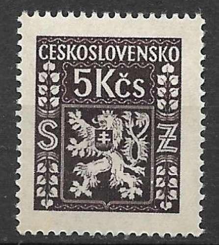 Tchecoslovaquie Service 1947 Y&T 14 neuf gomme altérée - Armoirie