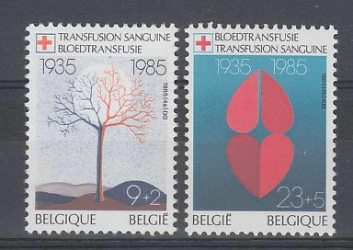 PAIRE NEUVE DE BELGIQUE - CINQUANTENAIRE DU SERVICE DE TRANSFUSION SANGUINE N° Y&T 2161/2162