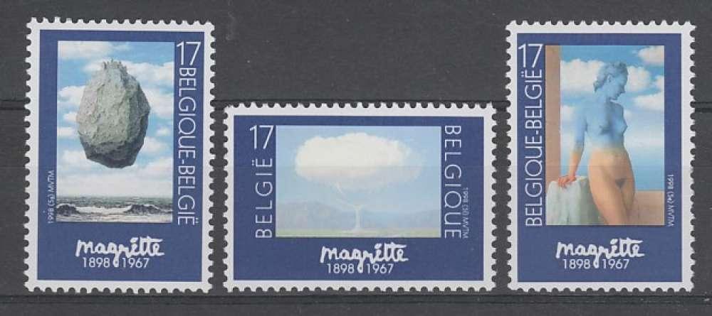 SERIE NEUVE DE BELGIQUE - CENTENAIRE DE LA NAISSANCE DU PEINTRE ROGER MAGRITTE N° Y&T 2745 A 2747