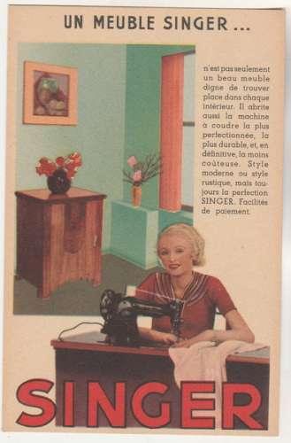 cpsm publicité pour  Machine à coudre  Un meuble Singer ....