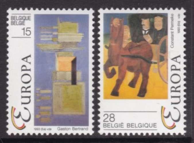 PAIRE NEUVE DE BELGIQUE - EUROPA 1993 : ART CONTEMPORAIN N° Y&T 2501/2502