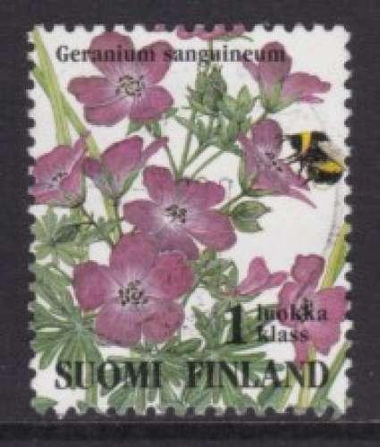 TIMBRE OBLITERE DE FINLANDE - FLEURS DES PRES : GERANIUM SANGUINEUM N° Y&T 1226