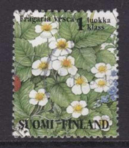 TIMBRE OBLITERE DE FINLANDE - FLEURS DES PRES : FRAGARIA VESCA N° Y&T 1227