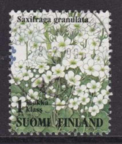 TIMBRE OBLITERE DE FINLANDE - FLEURS DES PRES : SAXIFRAGA GRANULATA N° Y&T 1229