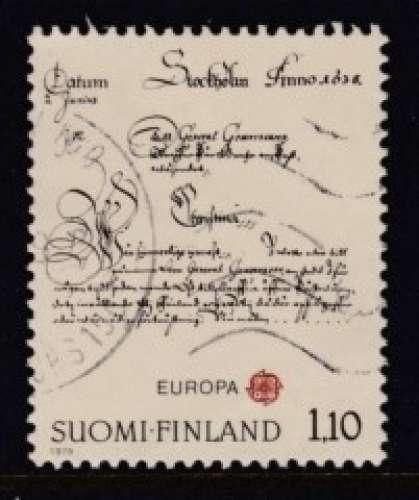 TIMBRE OBLITERE DE FINLANDE - EUROPA 1979 : LETTRE DE LA REINE CHRISTINE A P. BRAHE N° Y&T 806