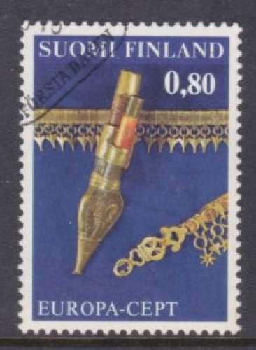 TIMBRE OBLITERE DE FINLANDE - EUROPA 1976 : OEUVRES ARTISANALES N° Y&T 753