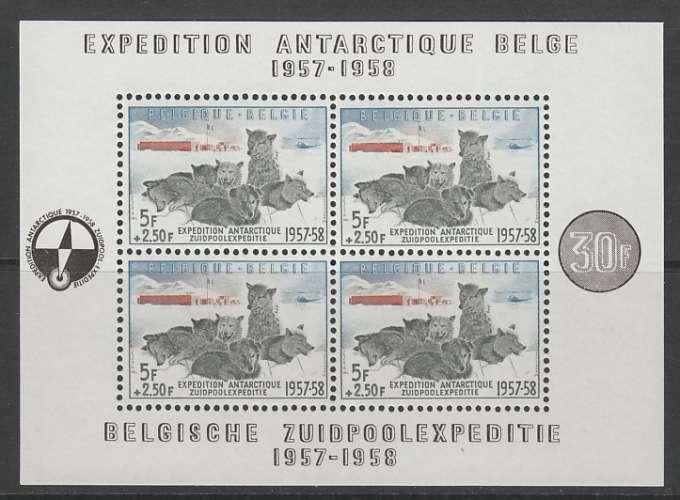 BLOC NEUF DE BELGIQUE - EXPEDITION ANTARCTIQUE BELGE (CHIENS DE TRAINEAU ET CAMP) N° Y&T 31