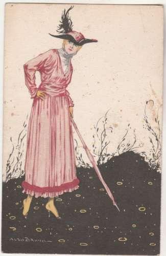 cpa Femme Art Déco  par Aldo Bruno