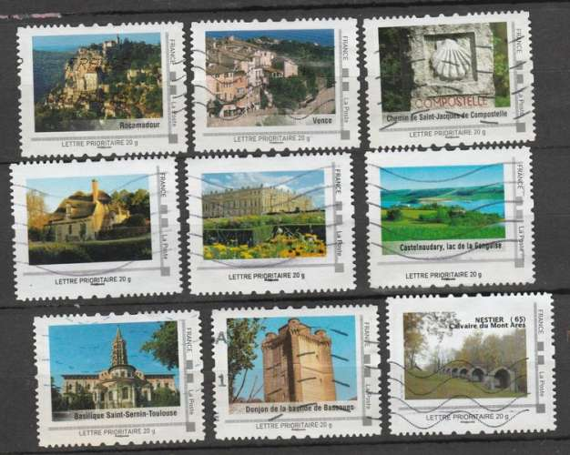 Lot de 9 Timbres  Collectors  prioritaires Sites de France