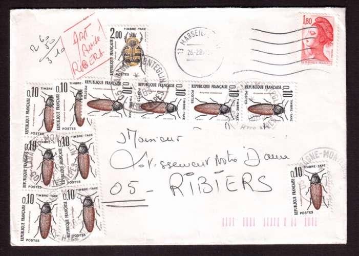 France 1982-83  timbres taxe  Y&T 103 X 11 - 107 (o) sur lettre affranchie à 1,80 F