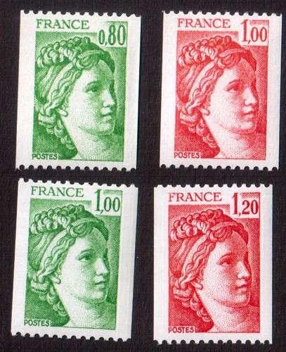 France 1978 Y&T 1980 à 1981B **  Sabine de Gandon  4 valeurs    cote 5,70€