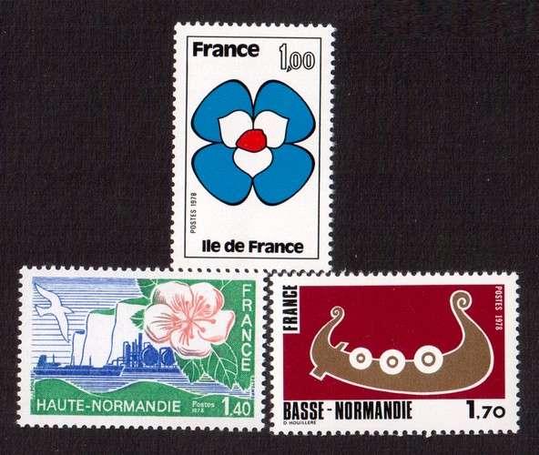 France 1978 Y&T 1991 à 1993 ** régions   cote 3,05€