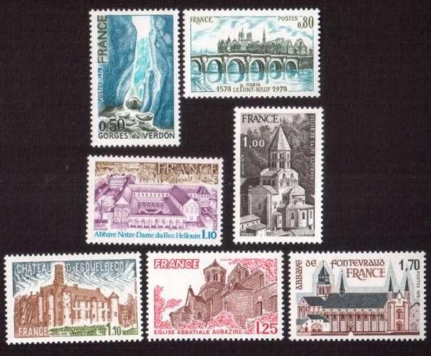 France 1978 Y&T 1996 à 2002 ** 7 valeurs série touristique   cote 5,00€