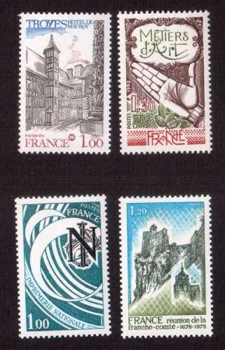 France 1978 Y&T  2011 - 2013 - 2014 - 2015 **    cote 2,45€