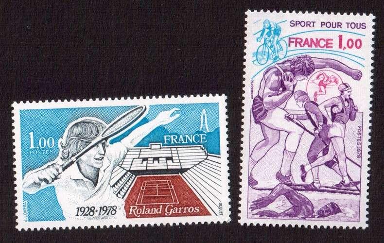 France 1978 Y&T  2012 - 2020 **  sports pour tous et cinquantenaire stade Roland Garros  cote 2,50€