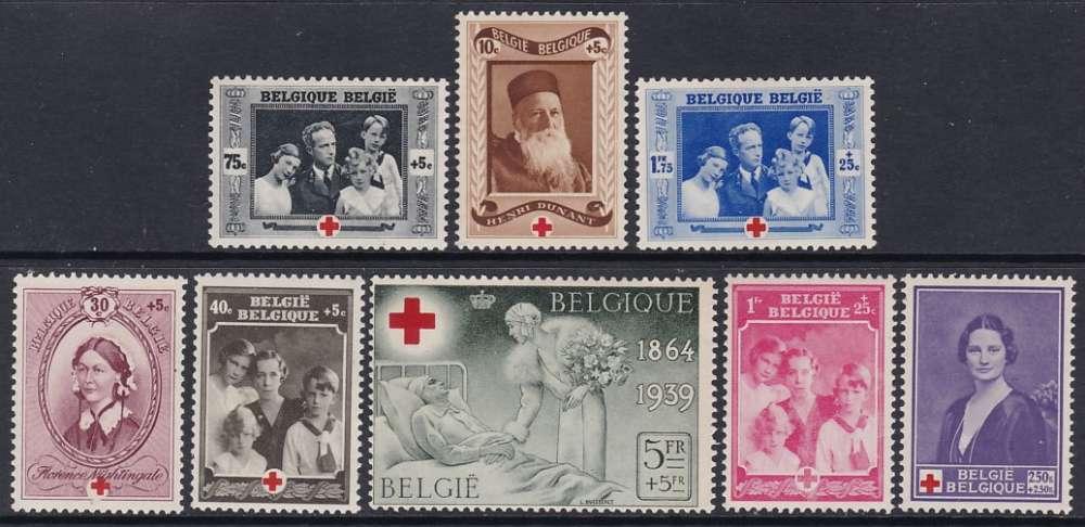 SERIE NEUVE DE BELGIQUE - 75E ANNIVERSAIRE DE LA CROIX-ROUGE INTERNATIONALE N° Y&T 496/503