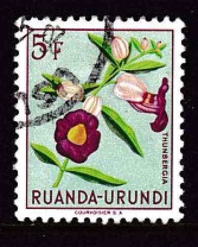 TIMBRE OBLITERE DU RUANDA-URUNDI - FLEURS : THUNBERGIA N° Y&T 191