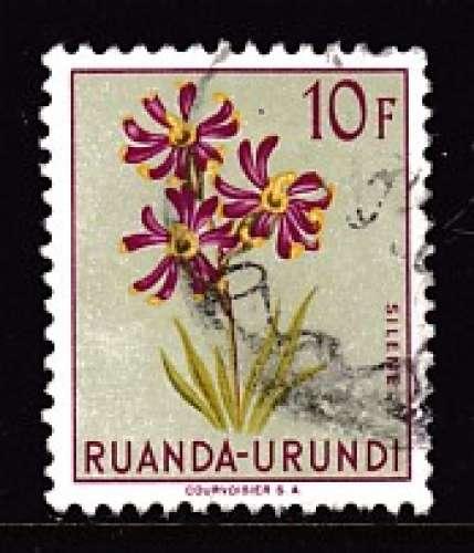 TIMBRE OBLITERE DU RUANDA-URUNDI - FLEURS : SILENE N° Y&T 194