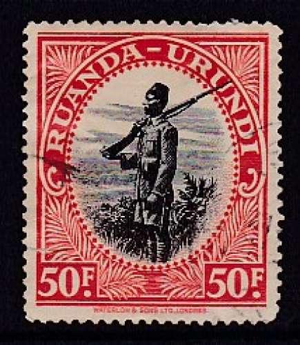 TIMBRE OBLITERE DU RUANDA-URUNDI - SOLDAT N° Y&T 146