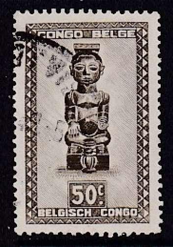 TIMBRE OBLITERE DU RUANDA-URUNDI - STATUETTE DE BOPE KENA, 119E ROI DES BA-KUBA N° Y&T 159